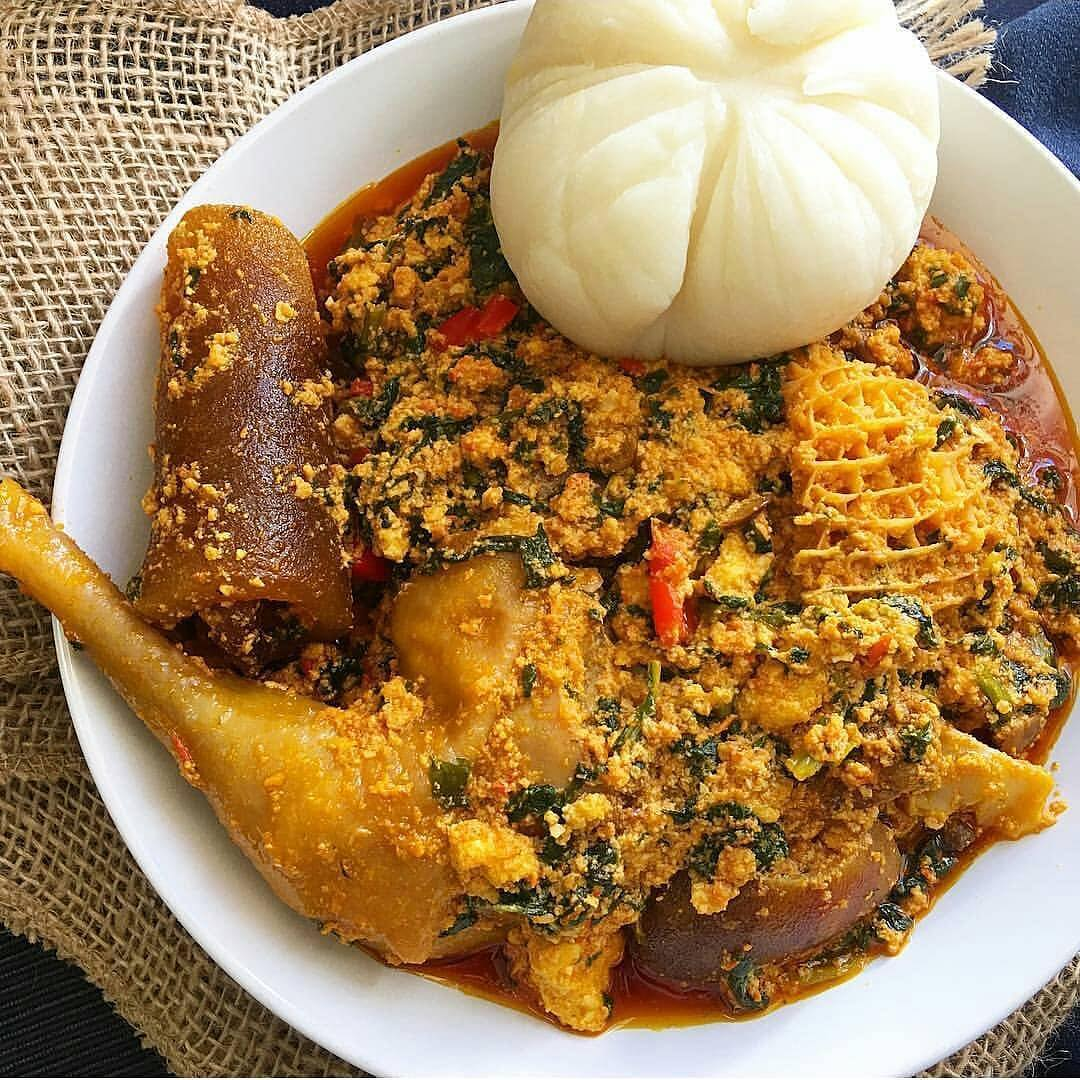 Nigerian assorted meat egusi soup