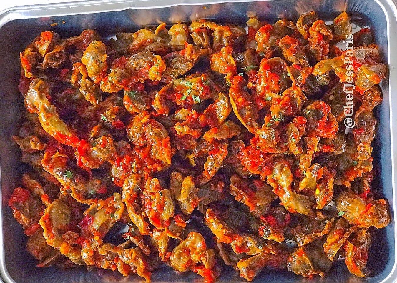 peppered chicken gizzards