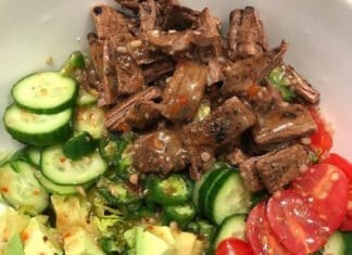 Asun (Peppered Goat Meat) and Avocado Salad recipe
