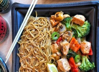 Tamarind Seared Salmon and Noodles wok recipe