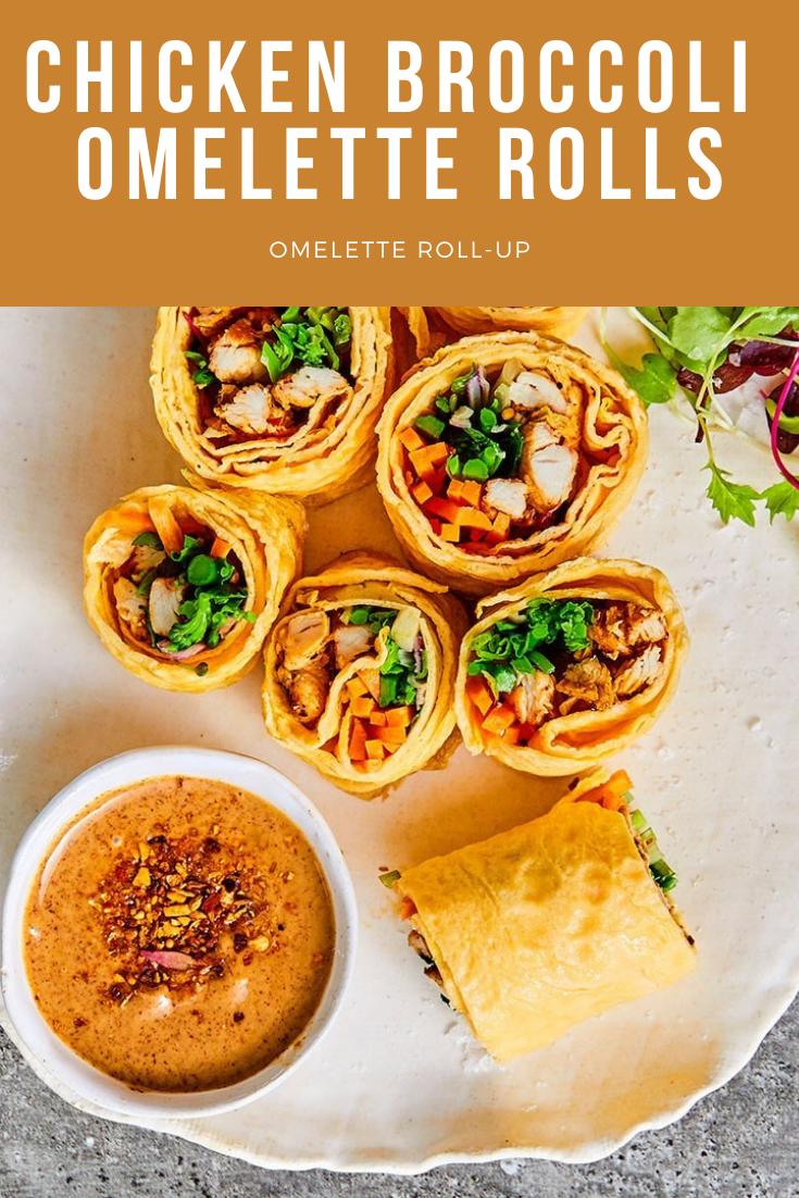 chicken Omelette RollUp pinterest