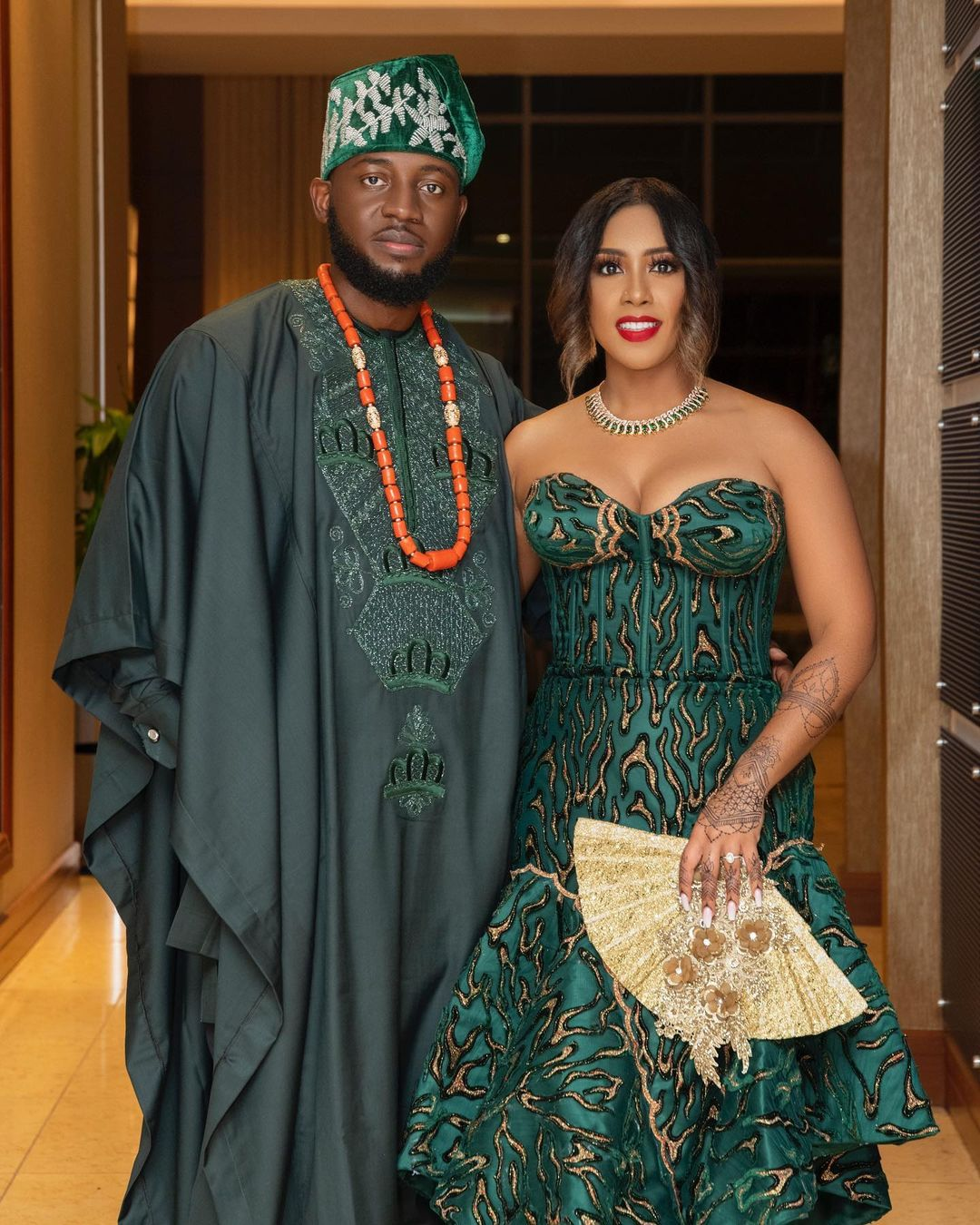 african traditional wedding matching bride and groom