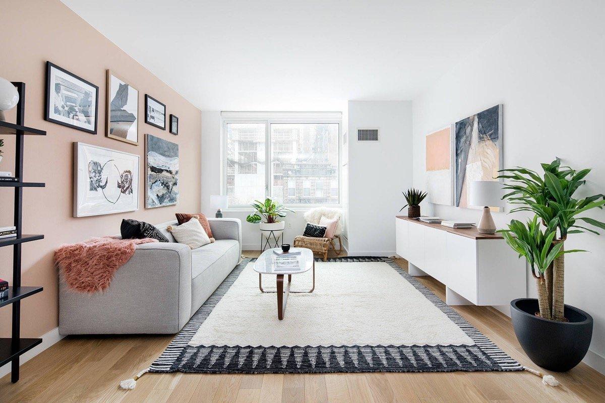 living room pink hues